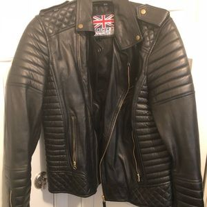 Other - Men's Black Leather Motorcycle Jacket